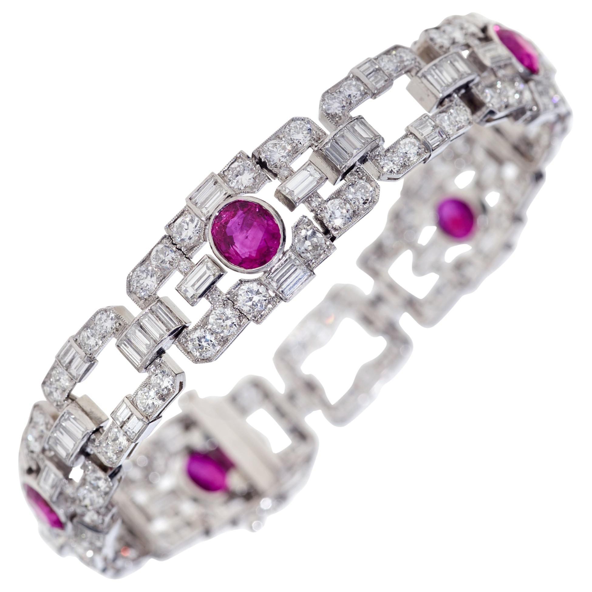 GIA Certified 11.07 Carat No Heat Burmese Ruby and Diamond Bracelet in Platinum