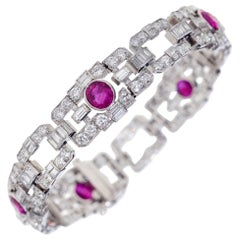 GIA Certified 11.07 Carat No Heat Burmese Ruby and Diamond Bracelet in Platinum