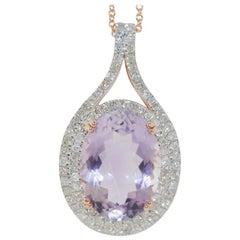 11.08 Carat Amethyst and Diamond Pendant Necklace, 14 Karat Gold
