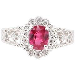 1.108 Carat No Heat Ruby and Diamond Ring Set in Platinum