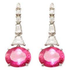 11.08 Carat Rubellite and 0.91 Carat Diamond Dangle Earrings Set in Platinum