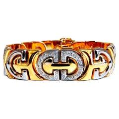 1.10ct Natural Round Diamonds Iconic Wide Bracelet 14 Karat Two-Tone
