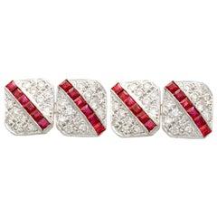 1.10 Carat Ruby and 1.82 Carat Diamond White Gold Cufflinks, Vintage, circa 1980