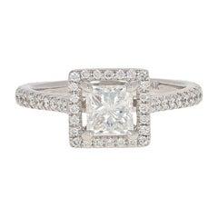 1.10 Carat Princess Cut Diamond Halo Ring, 14 Karat White Gold Cathedral GIA