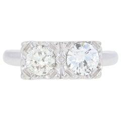 1.10ctw Round Brilliant Diamond Vintage Ring 14k White Gold Two-Stone Engagement