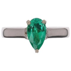 1.10tcw 14K Pear Shape Colombian Emerald, Diamond, & Sapphire Accent Ring