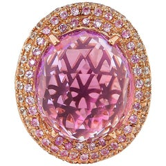 11.1 Carat Amethyst and Sapphire Ring in 14 Karat Rose Gold