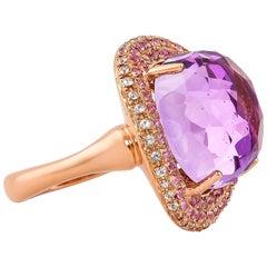 11.1 Carat Amethyst Ring in 14 Karat Rose Gold with Sapphires