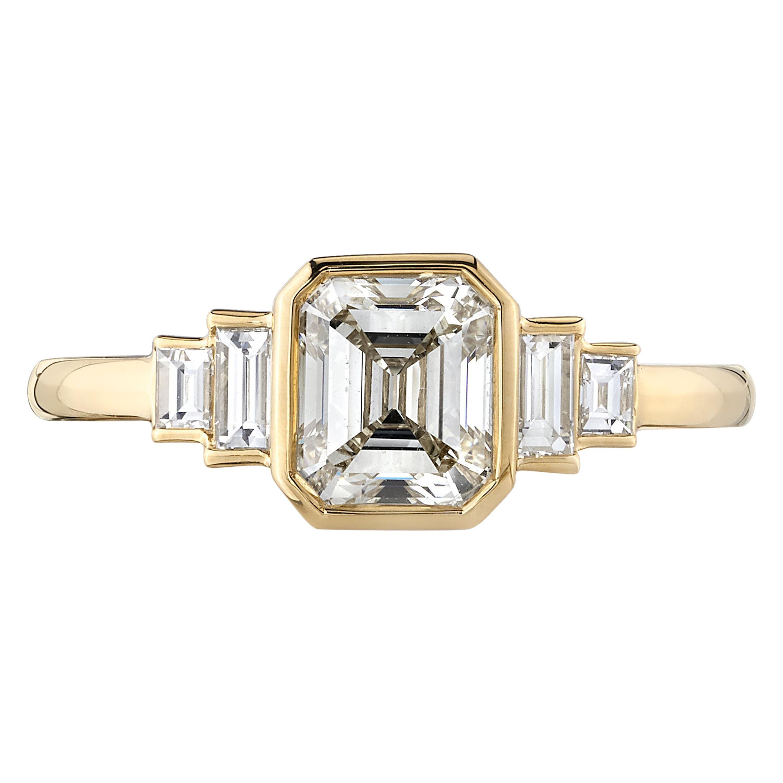 1.11 Carat Asscher Cut Diamond Set in a Handcrafted Yellow Gold Engagement Ring