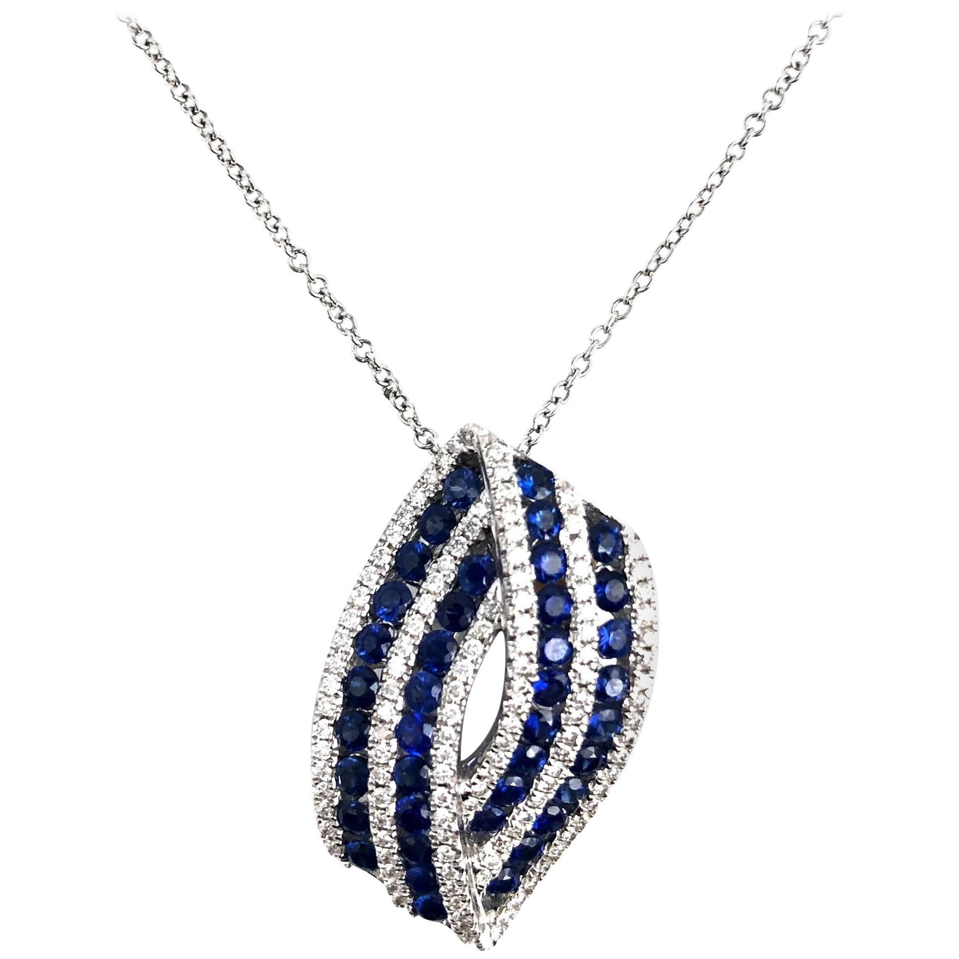 DiamondTown 1.11 Carat Ceylon Sapphire and 0.32 Carat Diamond Pendant