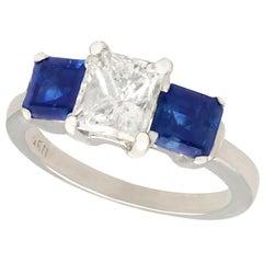 1.11 Carat Diamond and Sapphire Three-Stone Engagement Ring Circa 1980