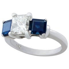 1.11 Carat Diamond and Sapphire Three-Stone Engagement Ring