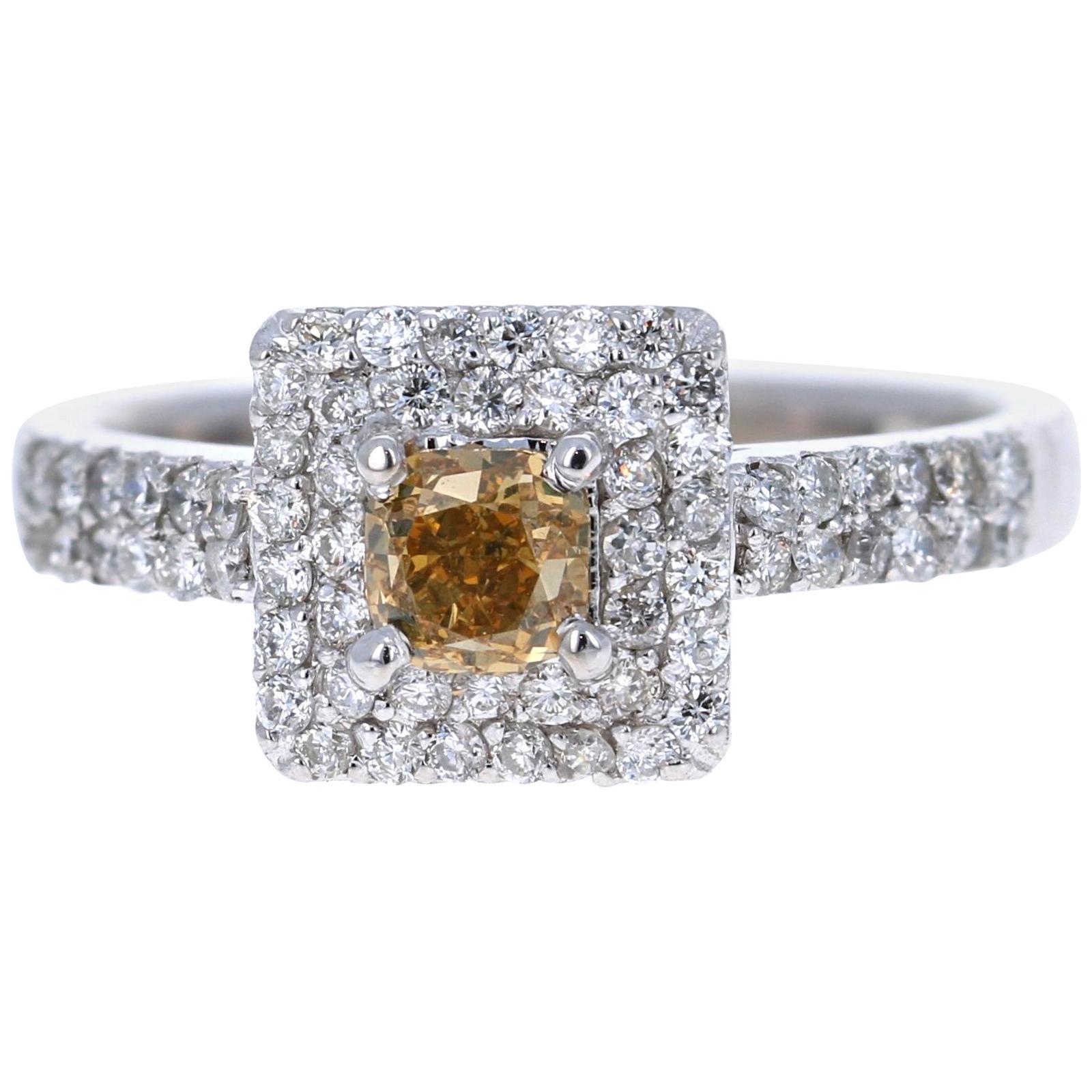 1.11 Carat Fancy Champagne Diamond Engagement 14 Karat White Gold Ring