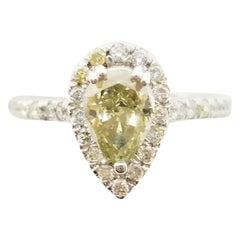 1.11 Carat Fancy Yellow Pear Shape Diamond Ring GIA in 14 Karat White Gold