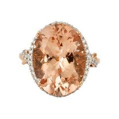 11.1 Carat Morganite and Diamond Ring in 18 Karat Rose Gold