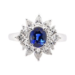 1.11 Carat, Natural Blue Sapphire and Diamond Ring Set in Platinum