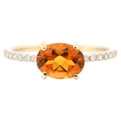 1.11 Carat Natural, Citrine Quartz and Diamond Ring Set in 18 Karat Gold