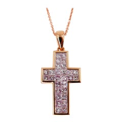 1.11 Carat Natural Light Baby Pink Diamond Cross Pendant Necklace 18 Karat Gold