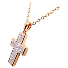 1.11 Carat Natural Pink Diamond Cross Pendant Necklace in Rose Gold