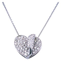 1.11 Carat Pave Set Diamond 14 Karat Gold Heart Pendant Necklace