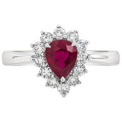 1.11 Carat Pear Shape Ruby and Diamond Halo Engagement Ring