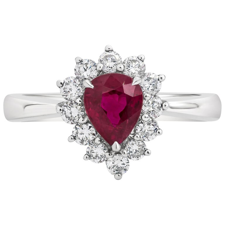 1.11 Carat Pear Shape Ruby and Diamond Halo Engagement Ring For Sale
