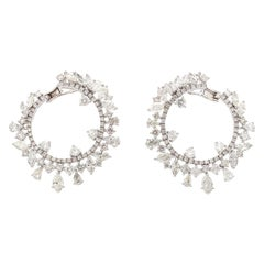 11.10 Carat Diamond 18 Karat Gold Hoop Earrings