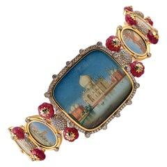 11.10 Carat Diamond HP Plaques and Ruby Gold Bracelet Tony Duquette Fine Jewelry
