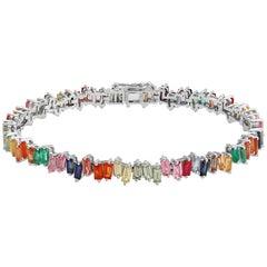 11.10 Carat Natural Multi Gemstones 14 Karat White Gold Bracelet