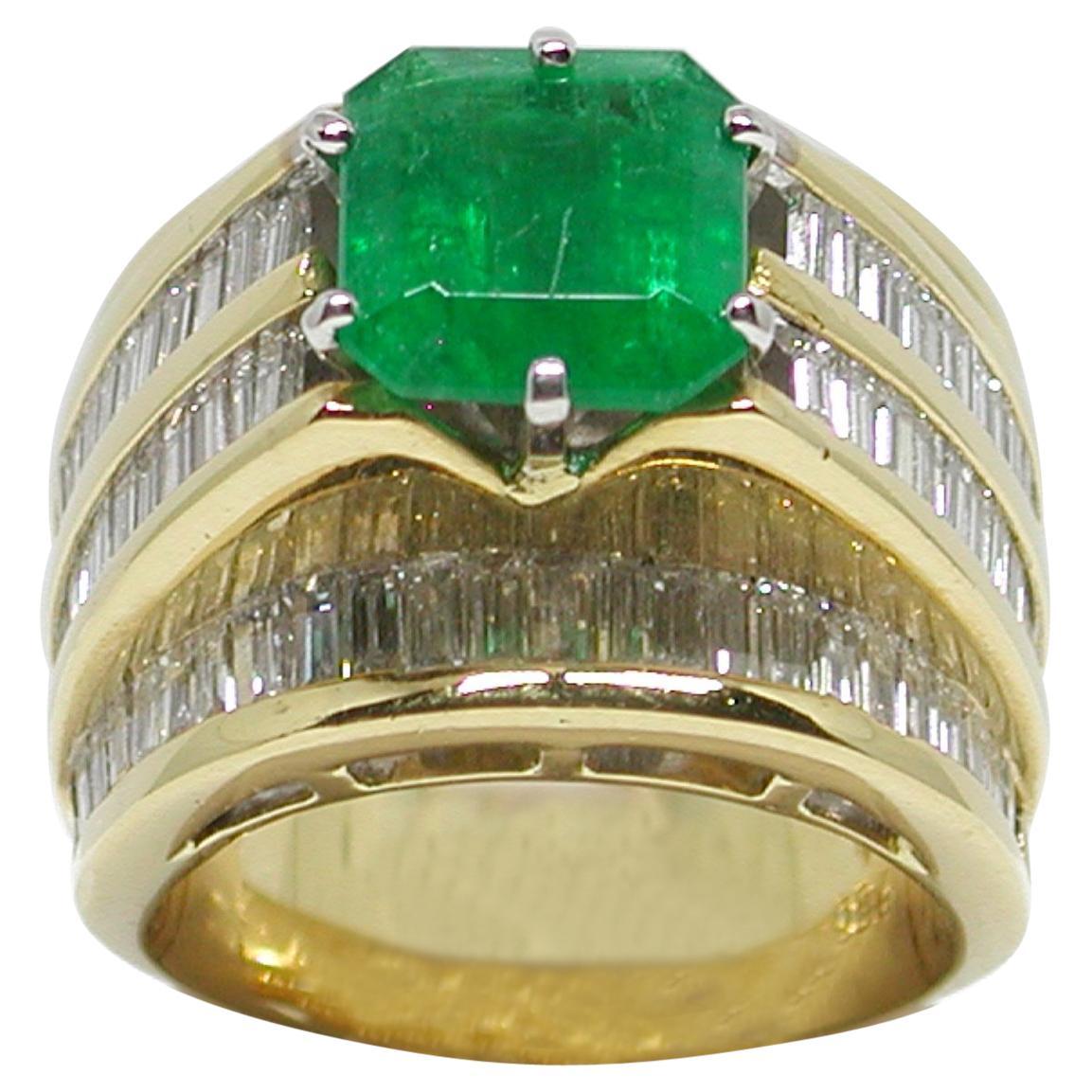 11.10 Carat Yellow Gold Diamond Emerald Ring