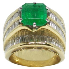 11.10 Carat Yellow Gold Diamond Emerald Ring