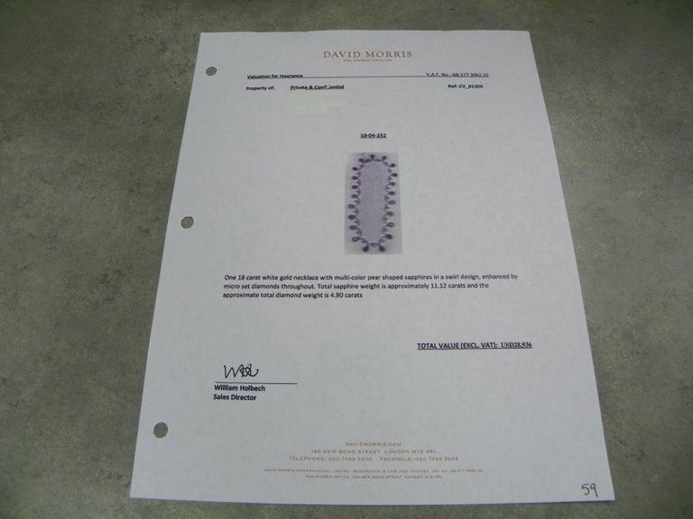 11.12 Carat Sapphire 4.90 Carat Diamond White Gold Necklace For Sale 4