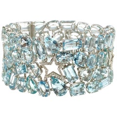 111.28 Carat Aquamarine and 0.94 Carat Diamond Bracelet in 18 Karat White Gold