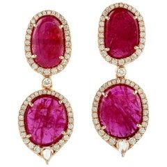 11.13 Carat Ruby 18 Karat Gold Diamond Earrings