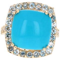 11.14 Carat Turquoise Aquamarine Diamond White Gold Cocktail Ring