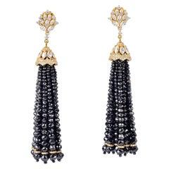 111.42 Carat Diamond 18 Karat Gold Tassel Earrings