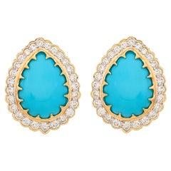 11.15 Carat Turquoise Diamond Stud Earrings