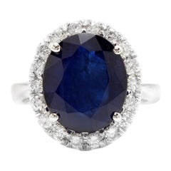 11.15ct Natural Blue Sapphire & Diamond 14k Solid White Gold Ring