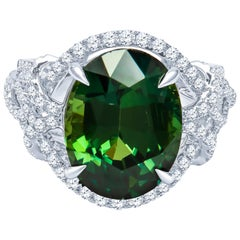 11.18 Carat Natural Oval Cut Green Sapphire 'GRS' in a 0.80 Carat Diamond Ring