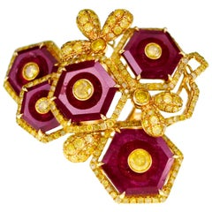 11.19 Carat Vivid Red Ruby with 2.78 Carat Fancy Vivid Yellow Diamond Ring
