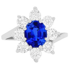 1.12 Carat Blue Sapphire Halo Engagement Ring
