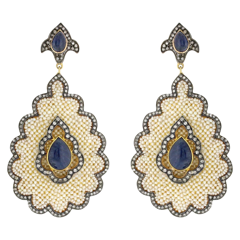 11.2 Carat Blue Sapphire Pearl Diamond Earrings