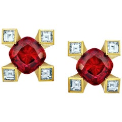 1.12 Carat Cushion Red Ruby and Diamond 18k Yellow Gold Earrings