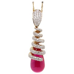 1.12 Carat Diamond and Glass Filled Ruby 12.50 Carat Pendant in 18 Karat Gold