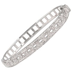 1.12 Carat Diamond Bengal 18 Karat White Gold Open Clasp