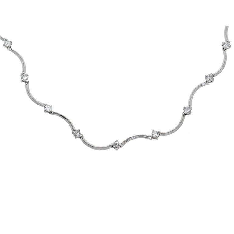Men's 1.12 Carat Diamond Gold Swirl Hinged Link Necklace For Sale