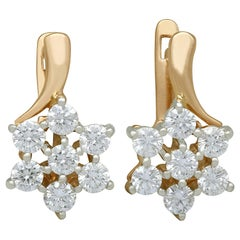 1.12 Carat Diamond Yellow Gold Earrings