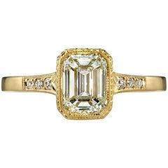 1.12 Carat Emerald Cut Diamond Engagement Ring