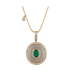1.12 Carat Emerald Pressiolite Oval Diamond Pendant Necklace