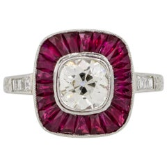 1.12 Carat Euro Cut Diamond Center Ring with Rubies Platinum in Stock